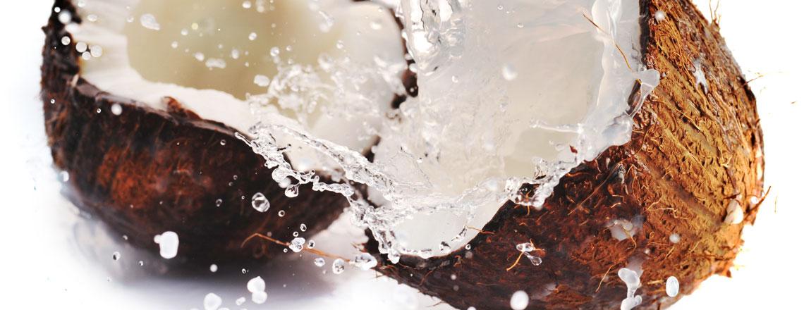 Halbierte Kokosnuss mit Kokosmilch.