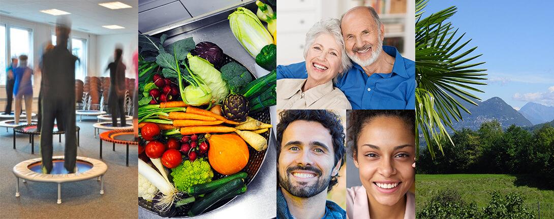 Collage mit einem älteren Ehepaar, frische Gemüsepfanne, Trampolin, einer jungen Frau und einem Mann.