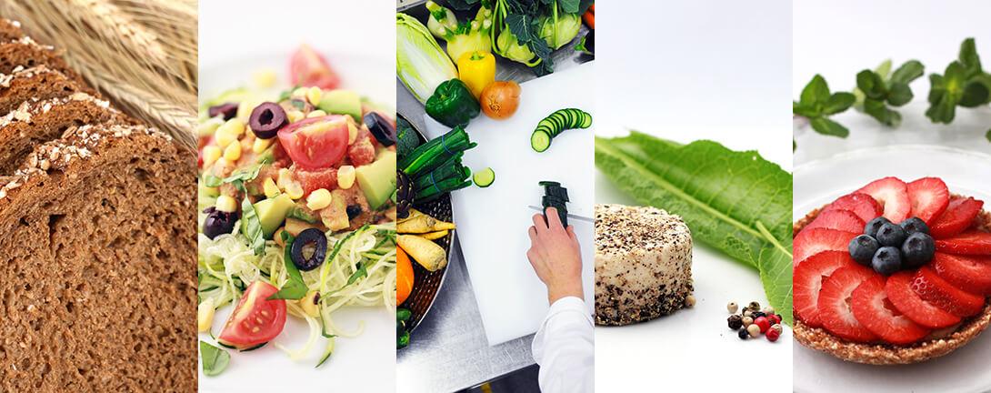 Collage mit Vollkornbrot, Zuccetti-Tomatensalat, Frisches Gemüse, Nusskäse und Erdbeertorte.