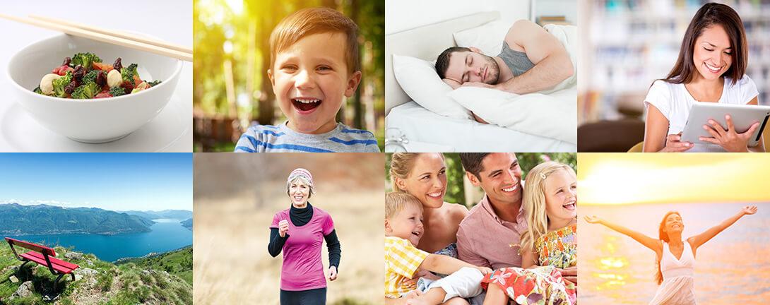 Bildcollage mit Salat, kleinem lachenden Jungen, schlafendem Mann, Joggern, Ausblick auf den See, Familie, Frau am Meer, Frau am Tablet.