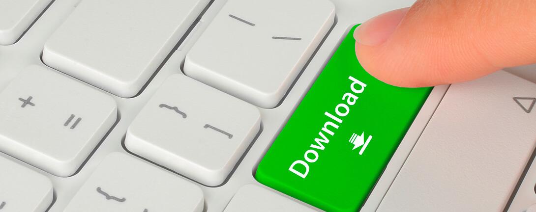 Weisse Tastatur mit grüner Downloadtaste.