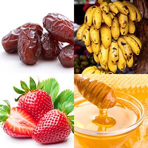4 Fotos mit Datteln, Babybananen, Erdbeeren und Honig
