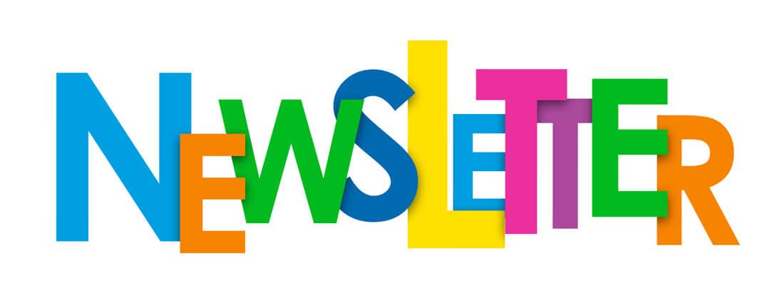 Newsletter wurde mit farbige bunten Buchstaben geschrieben.