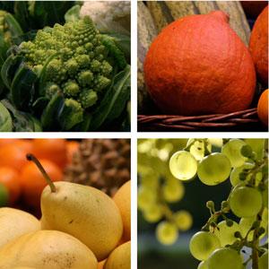 Birne, Trauben, Kürbis und Romanseco.