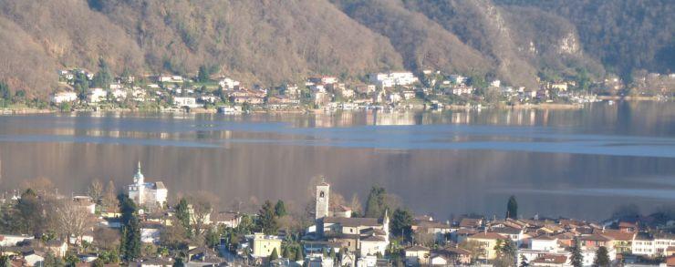 Aussicht auf den Lago di Lugano im Frühling.
